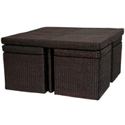 Oriental Furniture Coffee Table with Four Stools; Rich Mocha