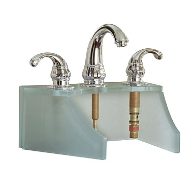 DecoLav Drains and Accessories Frosted Glass Faucet Stand; Metallic Silver