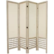 Oriental Furniture 67'' Tall Open Lattice Fabric 4 Panel Room Divider; White