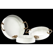 Urban Trends 3 Piece Metal Round Tray with Rope Handles Set; White