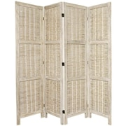 Oriental Furniture 67'' x 57'' Bamboo Tree Matchstick Woven 4 Panel Room Divider; Burnt White