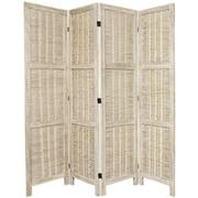 Oriental Furniture 67'' Tall Bamboo Matchstick Woven 4 Panel Room Divider