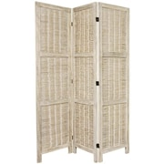 Oriental Furniture 67'' x 42'' Bamboo Tree Matchstick Woven 3 Panel Room Divider; Burnt White