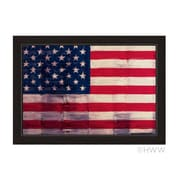 Click Wall Art Textured American Flag Framed Graphic Art; 17'' H x 14'' W x 1'' D