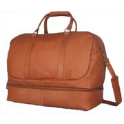 David King 20'' Leather Bottom Compartment Travel Duffel; Tan