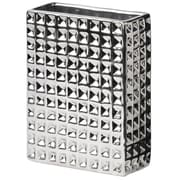 Urban Trends Dimpled Tall Rectangular Vase; Polished Chrome Silver