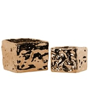Urban Trends 2 Piece Square Planter Box Set; Polished Chrome Copper