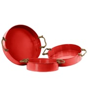 Urban Trends 3 Piece Metal Round Tray with Rope Handles Set; Red