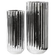Urban Trends 2 Piece Tall Cylindrical Flower Vase Set; Polished Chrome Silver