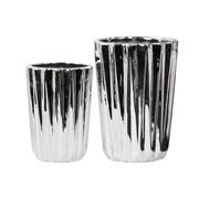 Urban Trends 2 Piece Tapered Flower Vase Set; Polished Chrome Silver