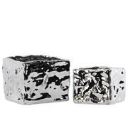 Urban Trends 2 Piece Square Planter Box Set; Polished Chrome Silver