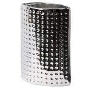 Urban Trends Dimpled Elliptical Vase; Polished Chrome Silver