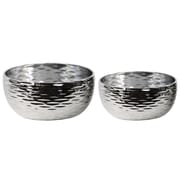 Urban Trends 2 Piece Dimpled Round Pot Set; Polished Chrome Silver