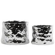 Urban Trends 2 Piece Round Pot Planter Set; Polished Chrome Silver