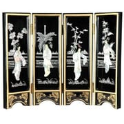 Oriental Furniture 14'' x 18.5'' Lacquer 4 Panel Room Divider