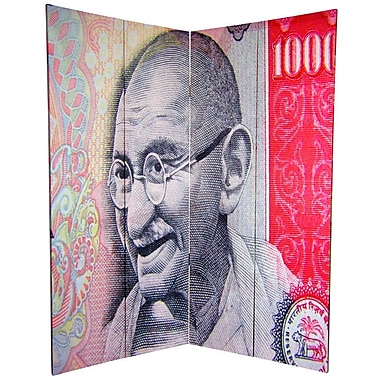 Oriental Furniture 72'' x 63'' Double Sided Gandhi 4 Panel Room Divider