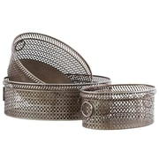 Urban Trends 3 Piece Elliptical Basket Tray with Mesh Design Sides and Ring Handles Set