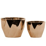 Urban Trends 2 Piece Round Pot Planter Set; Polished Chrome Copper