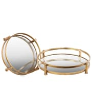 Urban Trends 2 Piece Round Tray with Beveled Mirror Surface Set