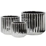 Urban Trends 3 Piece Porcelain Short Round Flower Vase Set; Polished Chrome Silver