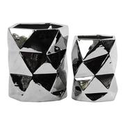 Urban Trends Hexagonal Vase; Polished Chrome Silver
