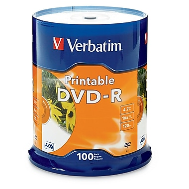 Verbatim DVD-R 4.7GB 16X Discs with White Inkjet Printable Labels, 100 Discs/Spindle