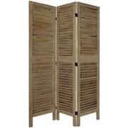 Oriental Furniture 67'' Tall Classic Venetian 3 Panel Room Divider; Gray