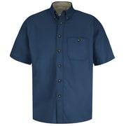 Red Kap Men's Cotton Contrast Dress Shirt SS x XL, Navy / stone