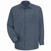 Red Kap Men's Industrial Stripe Work Shirt RG x M, Charcoal with Blue / White Stripe