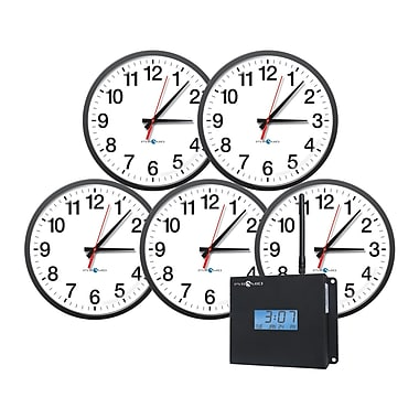 Pyramid™ WSCBA-5 TimeTrax Sync™ RF Wireless Clocks in a Box Analog Clock Bundle