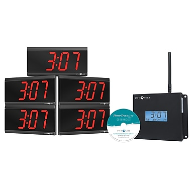 Pyramid™ TimeTrax Sync™ WSCBD-5 TimeTrax Sync™ RF Wireless Clocks in a Box LED Digital Clock Bundle