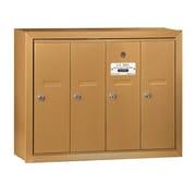 Salsbury Industries Vertical 4 Door Mailbox for USPS Access; Brass