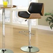Wildon Home   Adjustable Height Swivel Bar Stool with Cushion; Black