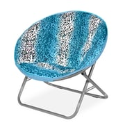 Idea Nuova Rock Your Room Leopard Ombre Faux Fur Saucer Papasam Chair; Teal