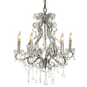 Pangea Home Isabella 6 Light Crystal Chandelier; Silver