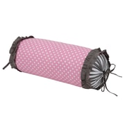 Bacati Dots/Pin Stripes Neck Roll Cotton Bolster Pillow; Grey/Pink