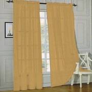 Sweet Home Collection Sheer Voile Curtain Panels (Set of 2); Gold