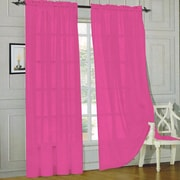 Sweet Home Collection Sheer Voile Curtain Panels (Set of 2); Hot Pink