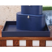 Global Views Midtown Leather Tray; Ink Blue