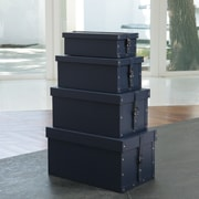 Global Views Handled Boxes Smooth Shoe Box (Set of 4); Ink Blue