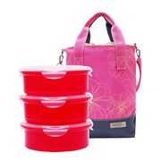 Lock & Lock 4 Piece Lunch Box & Cooler Bag Set; Pink