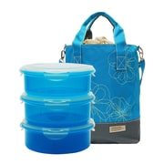 Lock & Lock 4 Piece Lunch Box & Cooler Bag Set; Blue