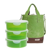 Lock & Lock 7-Piece Lunch Box and Cooler Bag Set; Green