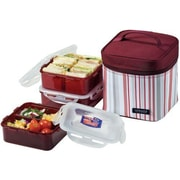 Lock & Lock 3-Piece Lunch Box Set with Bag and Cool Pack; Purpe