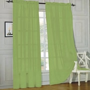 Sweet Home Collection Sheer Voile Curtain Panels (Set of 2); Sage