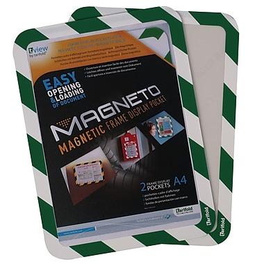 Tarifold Magneto Safety Frame, Magnetic Backing, Green/White Border, 2/Pack