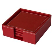 Dacasso Faux Leather Coaster with Holder; Rossa Red