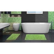 Popular Bath Products 2 Piece Chenille Bath Rug Set; Lime