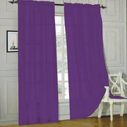 Sweet Home Collection Sheer Voile Curtain Panels (Set of 2); Purple