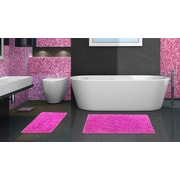 Popular Bath Products 2 Piece Chenille Bath Rug Set; Fuchsia